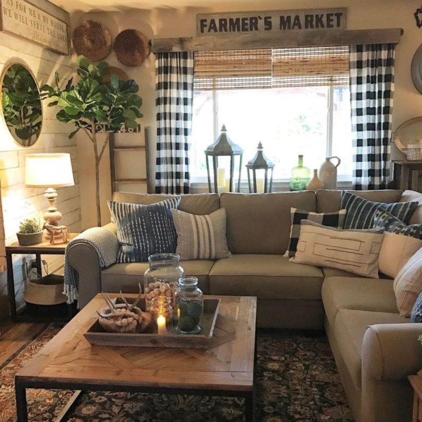 43 Elegant Farmhouse Living Room Design Decor Ideas ... on Curtains For Farmhouse Living Room  id=91777