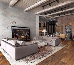 Awesome rustic industrial living room design and decor ideas 34