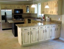 Amazing oak cabinet kitchen makeover ideas 13