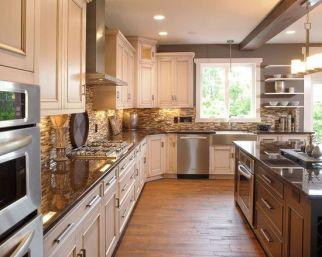 Comfy antique white kitchen cabinets ideas 18