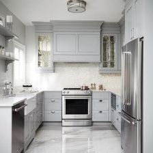 Comfy antique white kitchen cabinets ideas 40