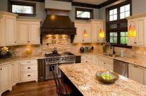 Comfy antique white kitchen cabinets ideas 43