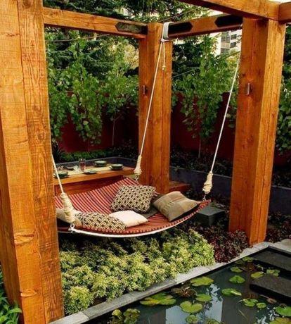 Comfy backyard hammock decor ideas 35