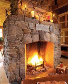 Cute rustic fireplace design ideas 18