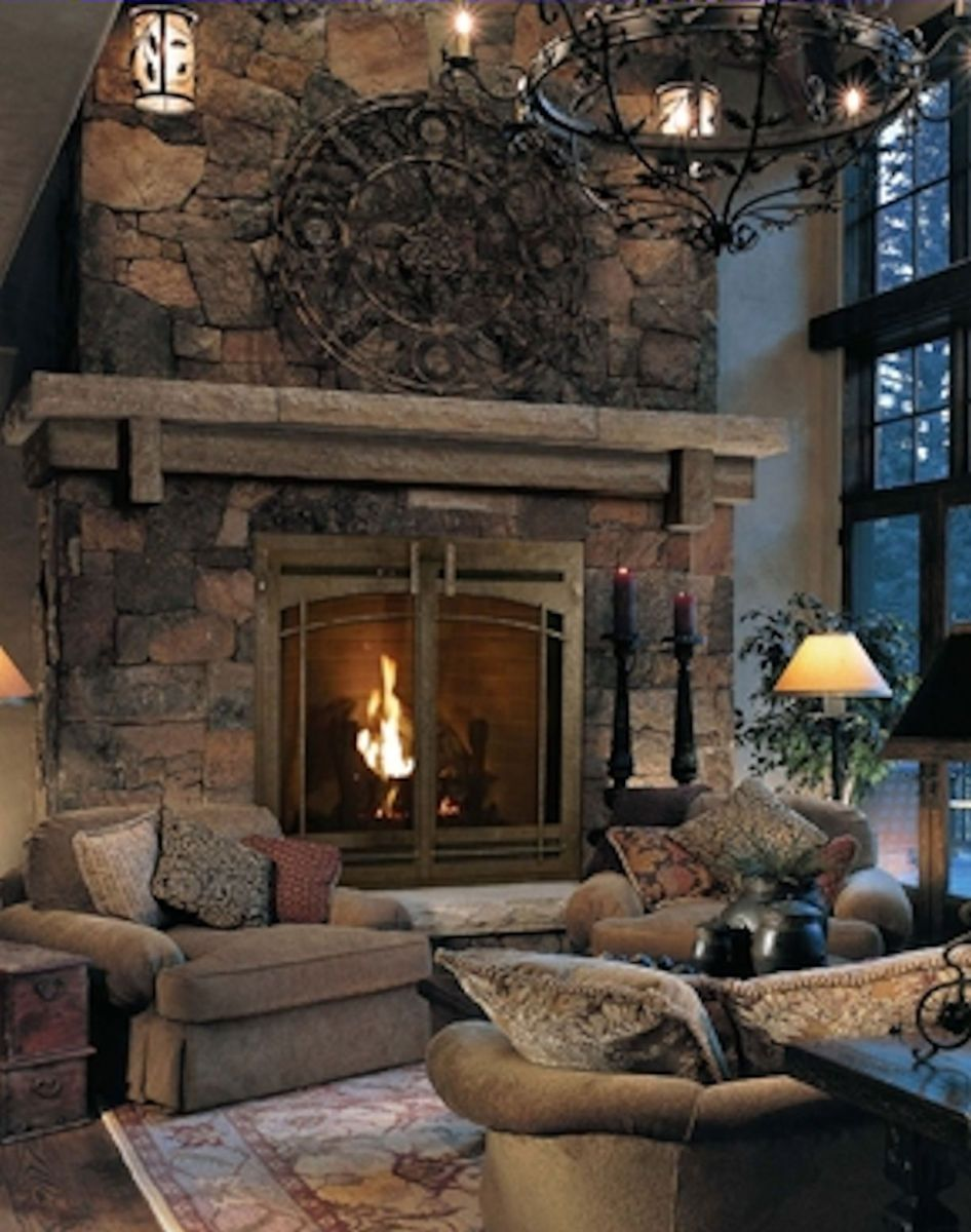 Cute rustic fireplace design ideas 19