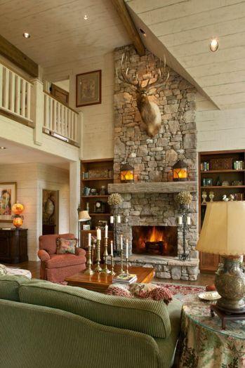 Cute rustic fireplace design ideas 42
