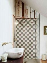Awesome farmhouse shower tiles ideas 25
