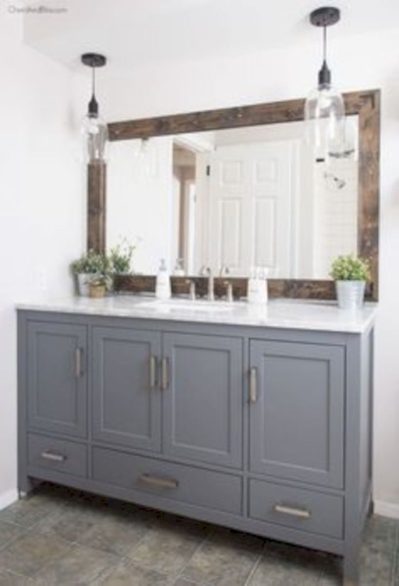 Cozy farmhouse bathroom makeover ideas 25
