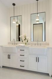 Cozy farmhouse bathroom makeover ideas 30