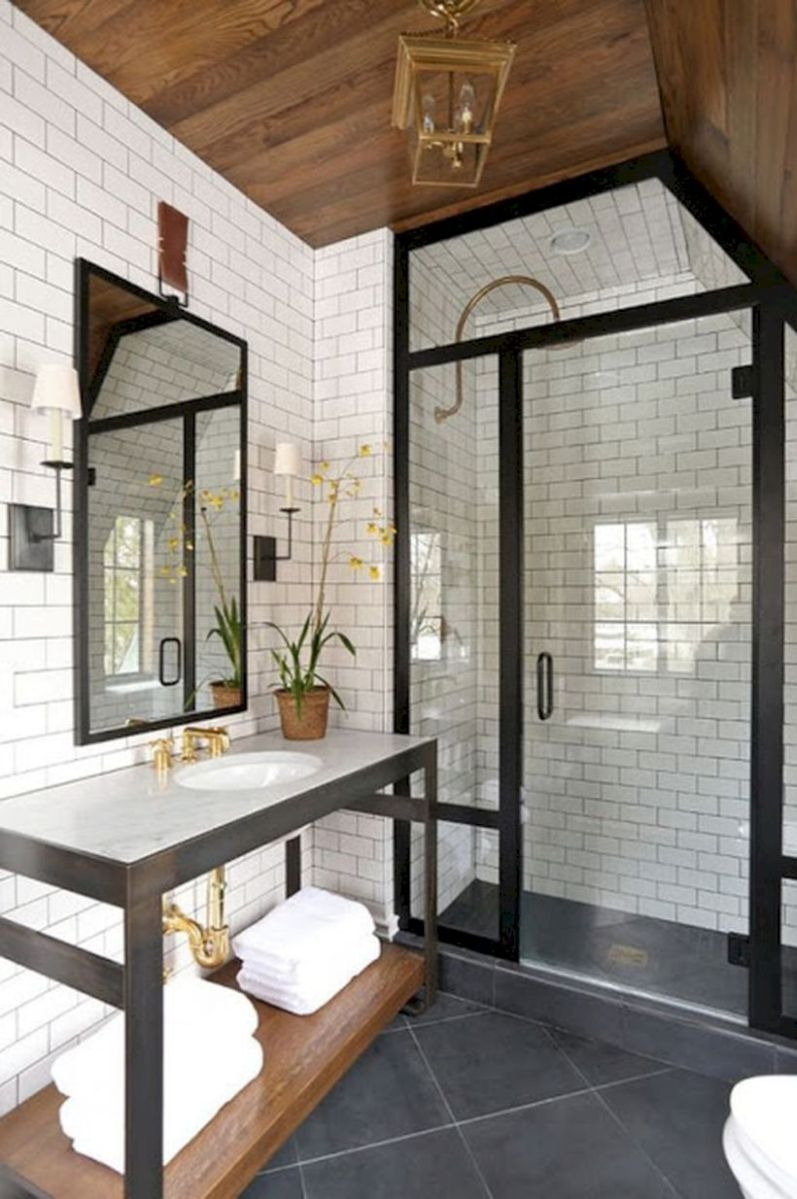 Cozy farmhouse bathroom makeover ideas 31