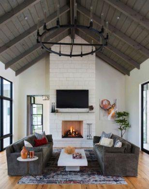 Fabulous farmhouse living room decor design ideas 06