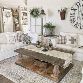 Fabulous farmhouse living room decor design ideas 14