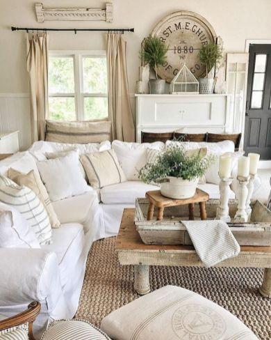 Fabulous farmhouse living room decor design ideas 16