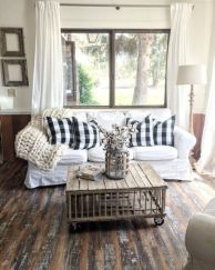 Fabulous farmhouse living room decor design ideas 17