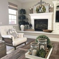 Fabulous farmhouse living room decor design ideas 24