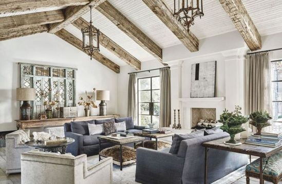 Fabulous farmhouse living room decor design ideas 44