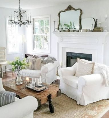 Gorgeous farmhouse living room decor design ideas 13
