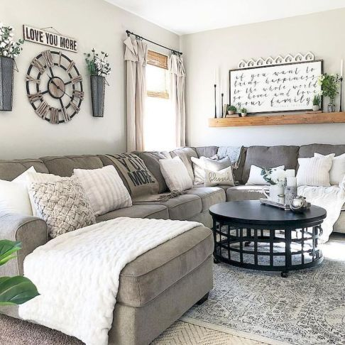 Gorgeous farmhouse living room decor design ideas 14