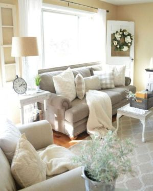 Gorgeous farmhouse living room decor design ideas 34