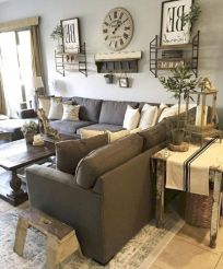 Gorgeous farmhouse living room decor design ideas 35