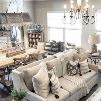 Gorgeous farmhouse living room decor design ideas 40