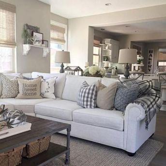 Gorgeous farmhouse living room decor design ideas 48