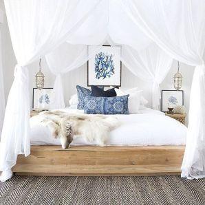 Gorgeous minimalist elegant white themed bedroom ideas 43