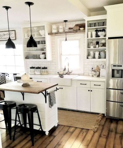 Impressive farmhouse country kitchen decor ideas 03