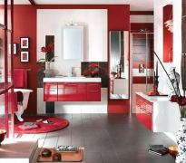 Most popular red black and white bathroom decor ideas 16