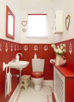 Most popular red black and white bathroom decor ideas 17
