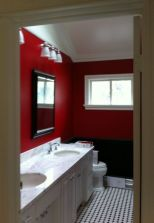 Most popular red black and white bathroom decor ideas 22