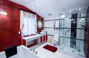 Most popular red black and white bathroom decor ideas 45