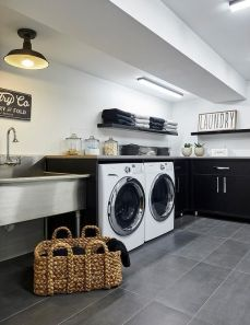 Outstanding black and white laundry room ideas 06