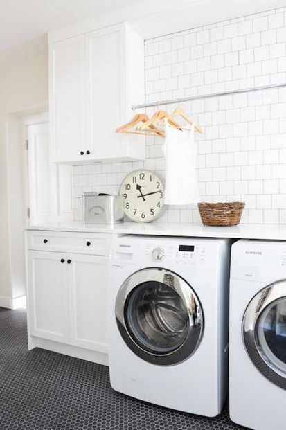 Outstanding black and white laundry room ideas 25