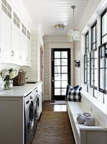 Outstanding black and white laundry room ideas 43