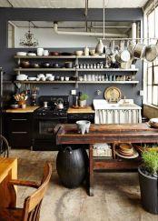 Amazing black kitchen design ideas 33