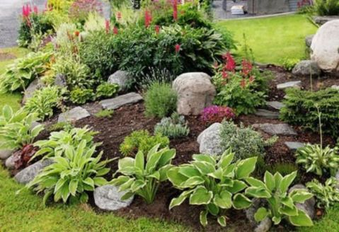Great front yard rock garden ideas 48