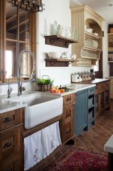 Stylish modern farmhouse kitchen makeover decor ideas 04
