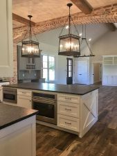 Stylish modern farmhouse kitchen makeover decor ideas 17