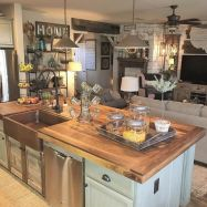 Stylish modern farmhouse kitchen makeover decor ideas 22