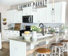 Stylish modern farmhouse kitchen makeover decor ideas 25