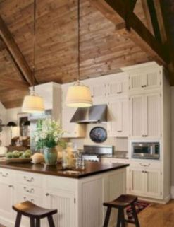 Stylish modern farmhouse kitchen makeover decor ideas 42
