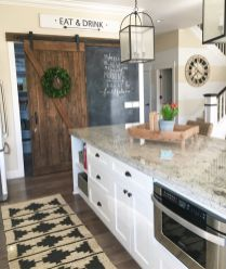 Stylish modern farmhouse kitchen makeover decor ideas 46