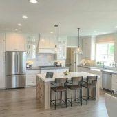 Stylish modern farmhouse kitchen makeover decor ideas 51