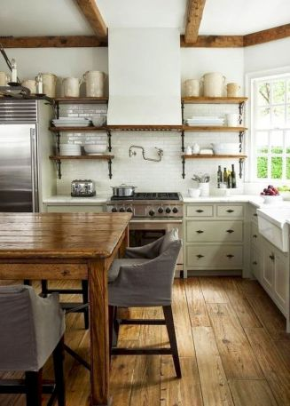 Stylish modern farmhouse kitchen makeover decor ideas 61