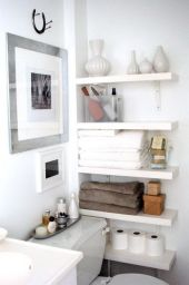 Lovely diy bathroom organisation shelves ideas 46