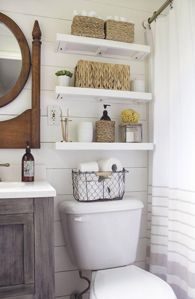 Lovely diy bathroom organisation shelves ideas 49