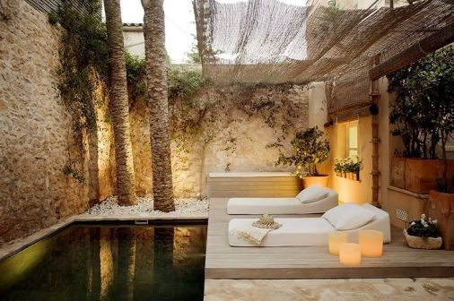Minimalist small pool design with beautiful garden inside 06