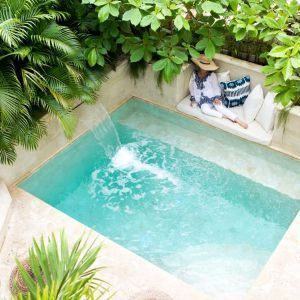 Minimalist small pool design with beautiful garden inside 08