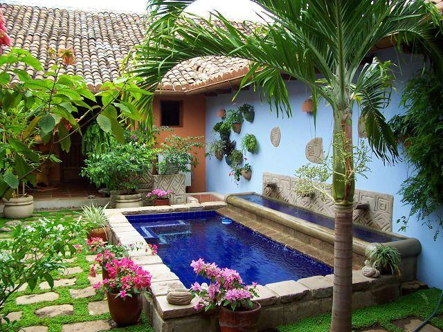 Minimalist small pool design with beautiful garden inside 14